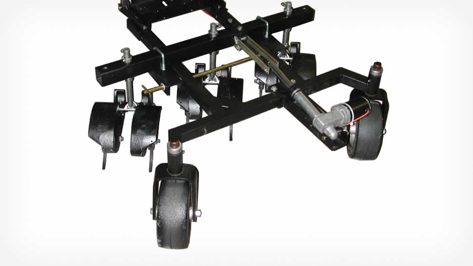 Swiveling caster wheels with 9 x 3.50 pneumatic tires support the frame.