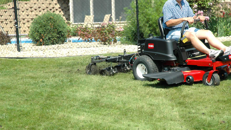 Aerate up to 66,000 square feet per hour at 5 MPH.  The casters swivel, allowing turning while aerating.