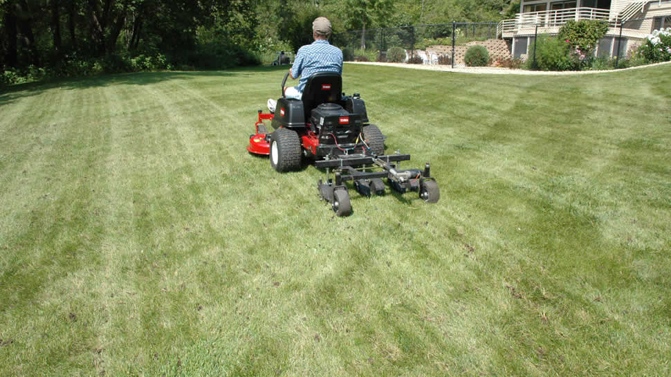 Hooking tines pierce deep into the soil and lift loose plugs.  No unsightly hard cores accumulate on the lawn.