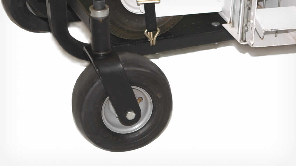 9 x 3.50 Pneumatic wheels and tires support the Blower Buggy.