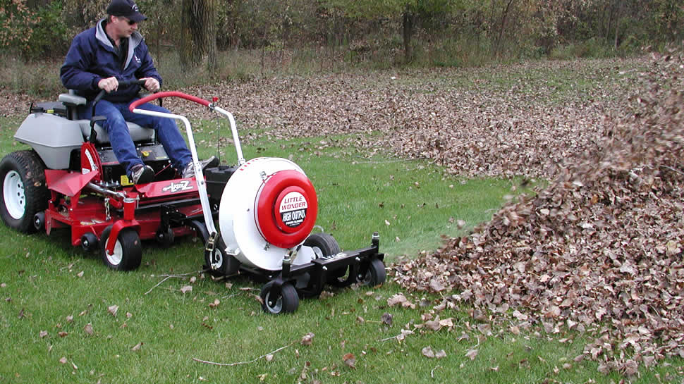 The blower moves yard debris with speed and ease while riding on the buggy