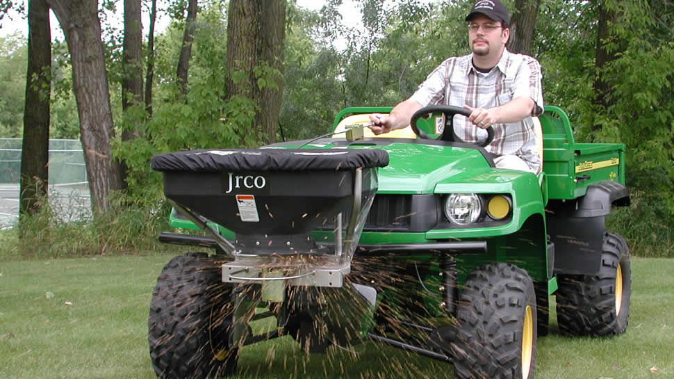 Increase productivity by spreading fertilizer or seed with your walk-behind, stand-up or riding mower.