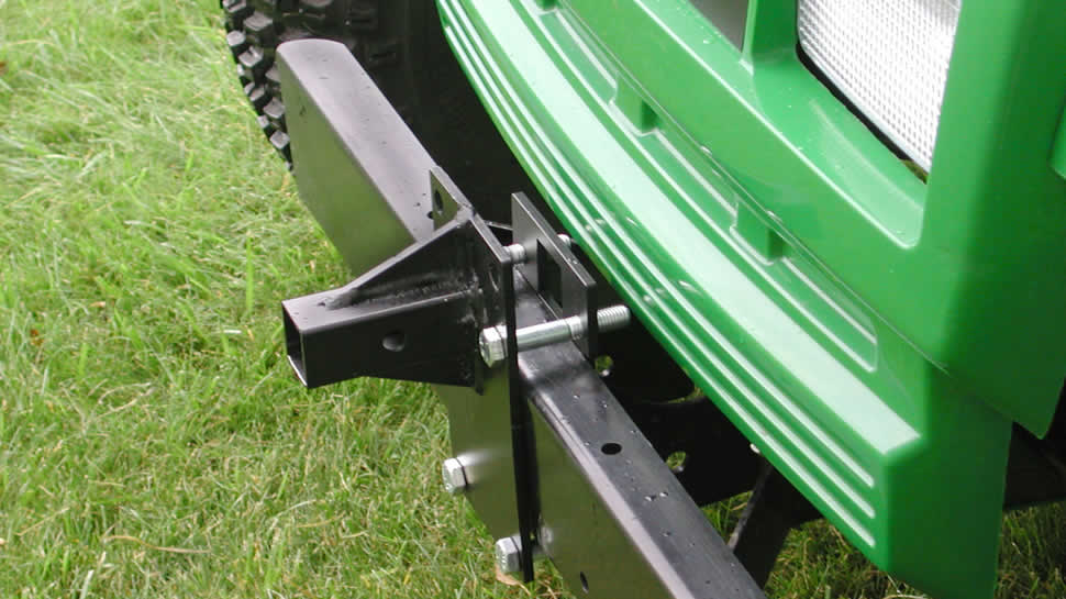 Model 504U Broadcast Spreader for utility vehicles. JRCO has hitch receiver mount options for the front or rear of utility vehicles.