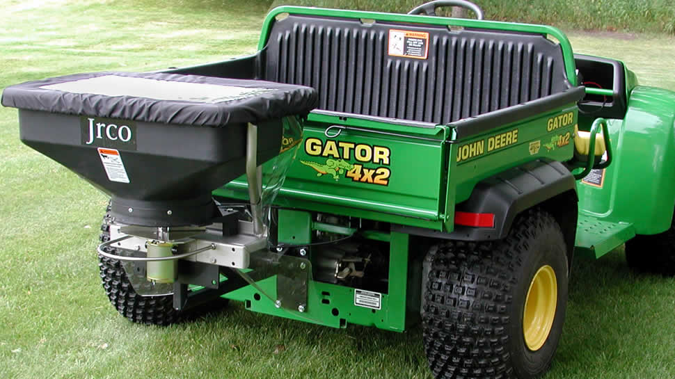 Increase productivity by spreading fertilizer or seed with your walk-behind, stand-up or riding mower