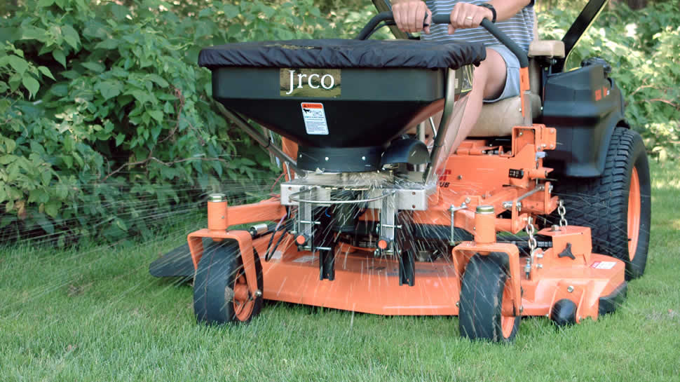 The JRCO Electric Broadcast Spreader has an electronic speed control for an adjustable and accurate spread pattern.