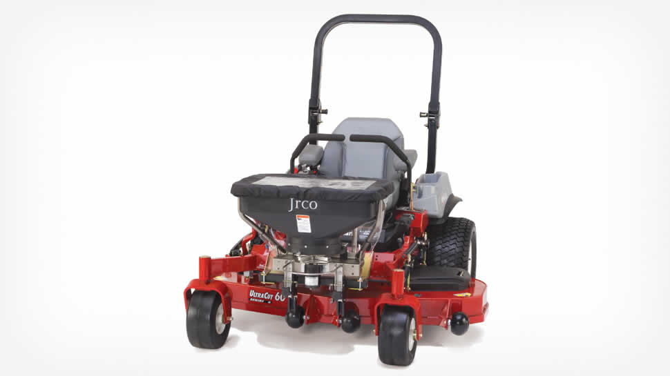 Model 503 Broadcast Spreader features a foot controlled gate opening for zero-turn mowers.