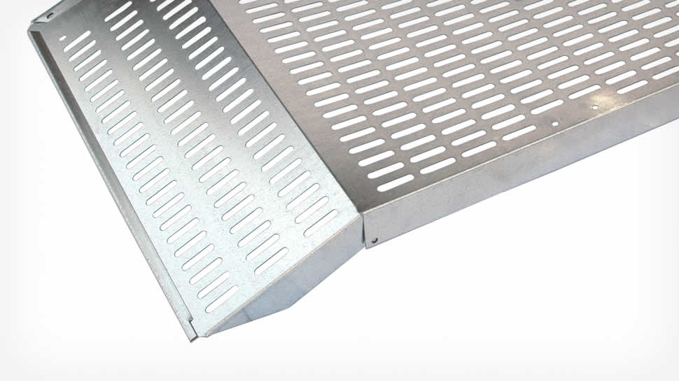 The 55-inch wide galvanized steel blade incorporates hemmed edge stiffeners and a folded top support.