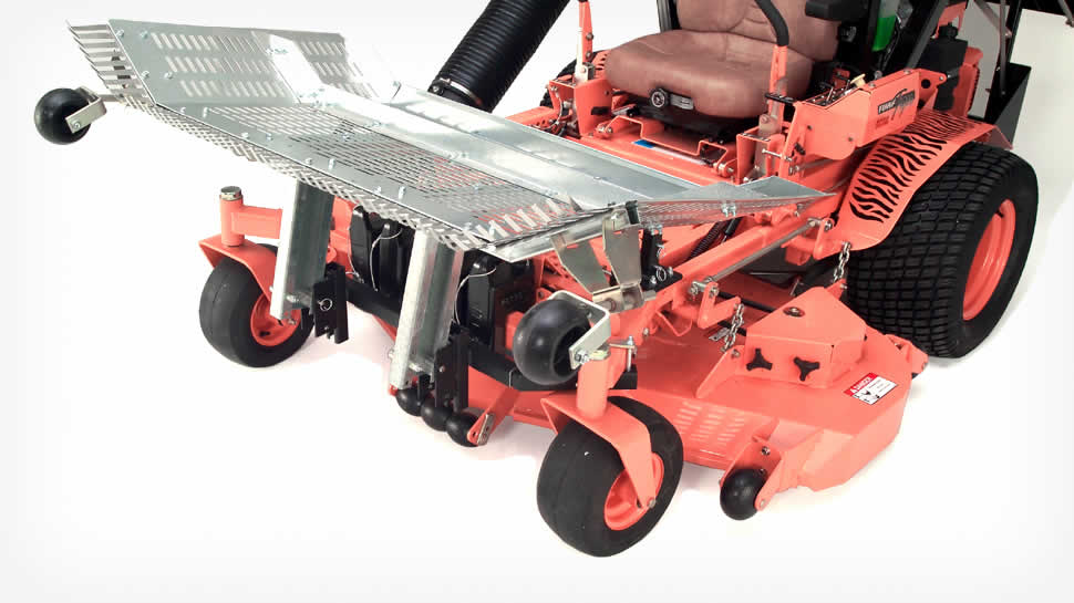 The Leaf Blade can be folded up over the deck of many mowers to reduce space on the trailer.