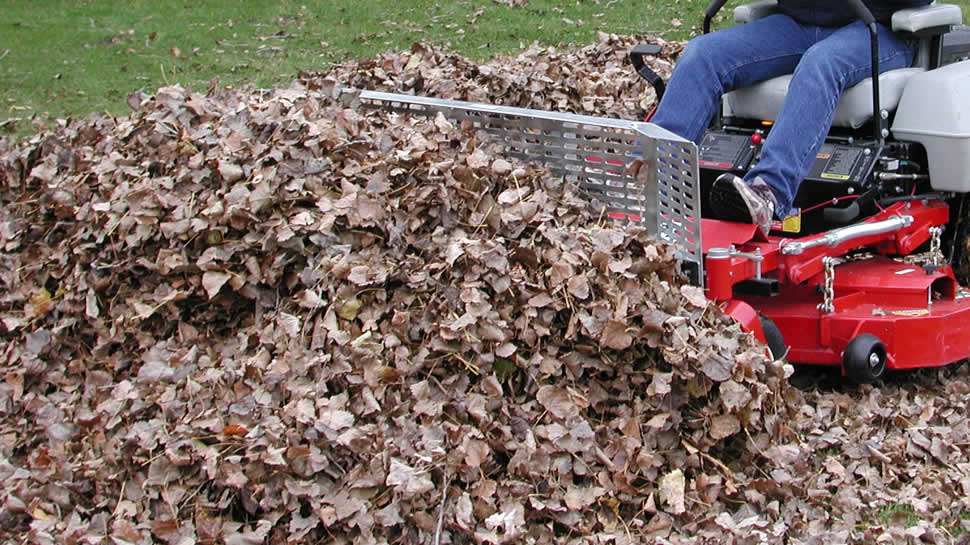 "The JRCO Leaf Blade Plow pushes piles of windrowed leaves off the lawn for collection.  Eliminate ""tarping"" with the JRCO Leaf Plow."
