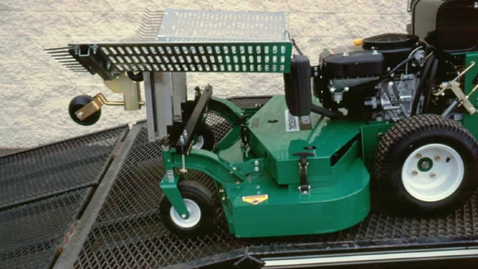 The Leaf Blade may be folded up over the deck of many mowers to reduce space on the trailer.