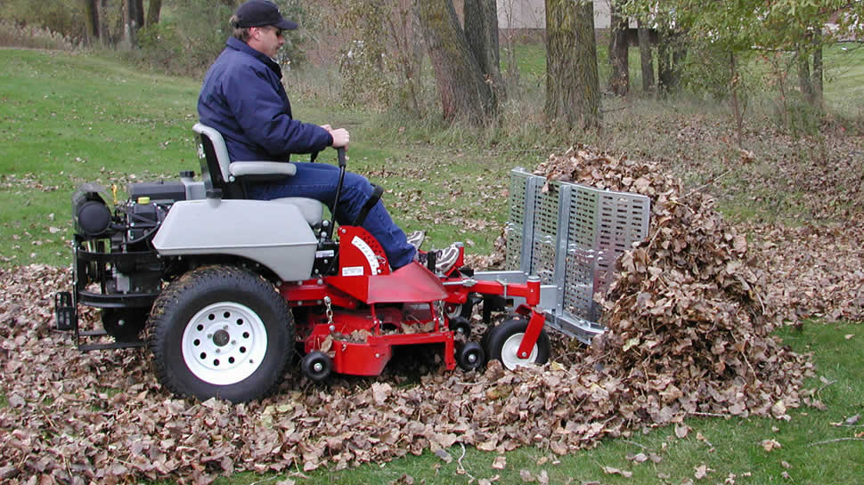 The heavy-duty Leaf Blade Plow uses the mower