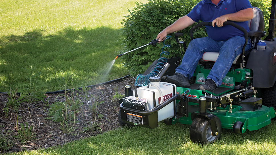 The JRCO Spot Sprayer allows you to spot spray weeds from the comfort of your mower.