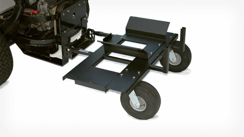 JRCO two point hitch and swiveling caster wheels keep sprayer from jackknifing even behind zero-turn mowers.