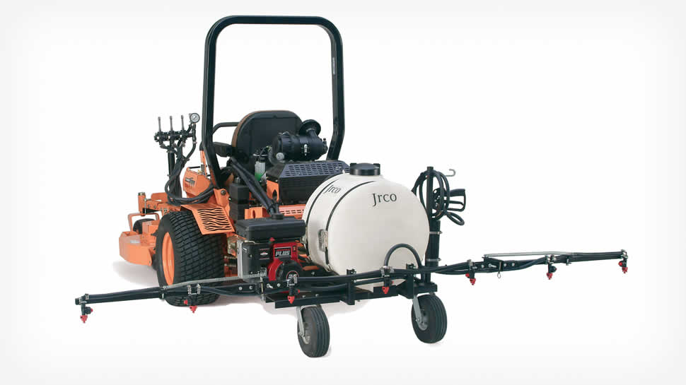 The JRCO Zero-turn Sprayer, and the JRCO Electric Broadcast Spreader makes your mower a complete application vehicle.