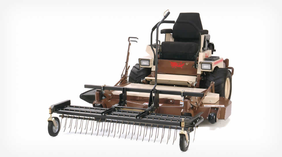 Tine Rake Dethatcher is available in 36, 46 and 60 inch widths.  Mounts are available for walk-behind, stand-up and riding mowers.