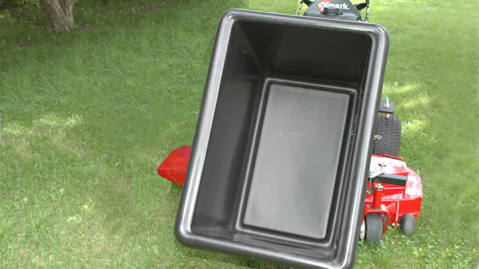 An optional 56 gallon tub is available to carry grass clippings, mulch or a variety of materials