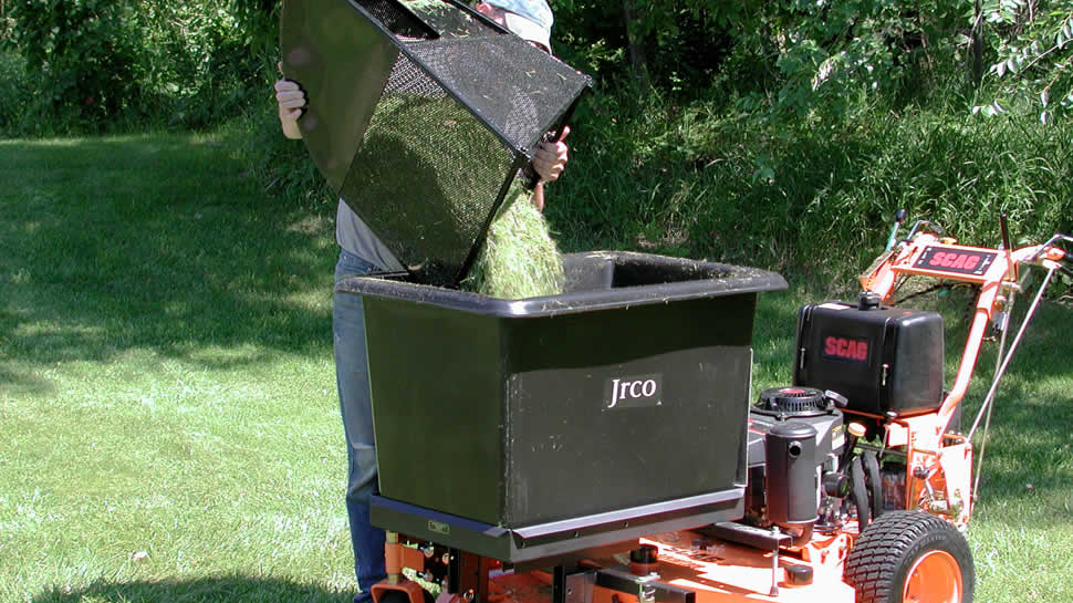 Use the JRCO Transporter and optional 56 gallon tub to empty the grass collector, eliminating runs back to the trailer.