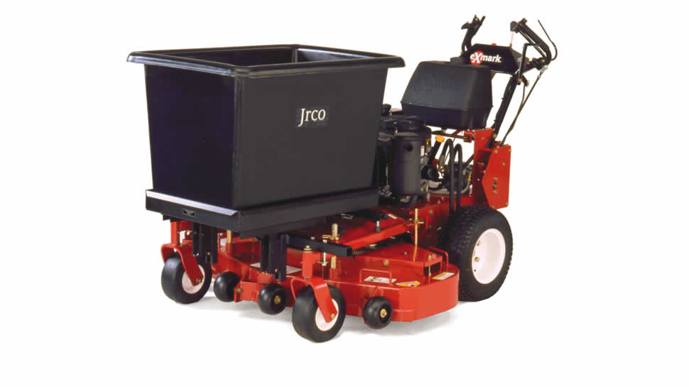 The JRCO Transporter, with the optional 56 gallon tub, turns your walk-behind mower into a powered wheelbarrow.