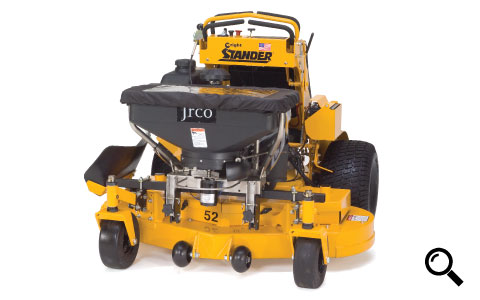 Jrco broadcast spreader mounted to a stand-on mower