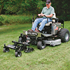 "Action shot of Jrco 38"" front-mount hooker aerator mounted to a zero turn mower"