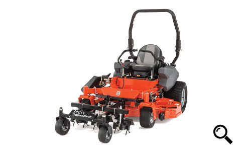 "Jrco 38"" front-mount hooker aerator mounted to a zero turn mower"