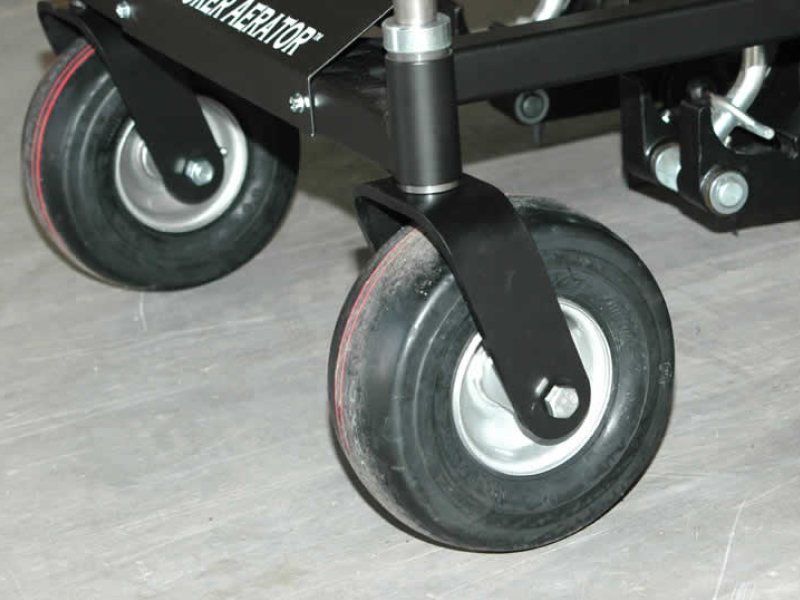 Close up shot of swivel caster wheels
